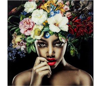 KARE design Tableau sur verre Belle Fleur Femme 120x120 cm