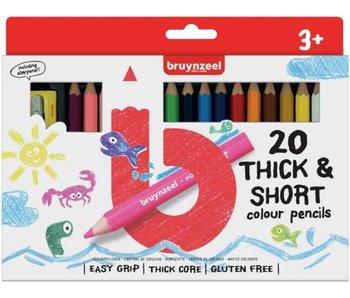 Korte potloden Bruynzeel: 20 stuks met slijper