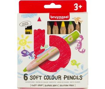 Kleurpotloden Bruynzeel: 6 stuks soft met slijper-60119006