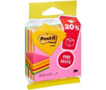 Post-it: notes 76x76 mm 325 blaadjes/blok+20% gratis neon roze