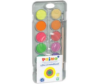 PRIMO plakkaatverf 8 metalic + 4 fluo nappen PVC box + mengpallet + 1 penseel