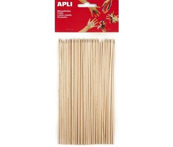 Apli crea natuur houten prikkers 200x3mm 50 st ass