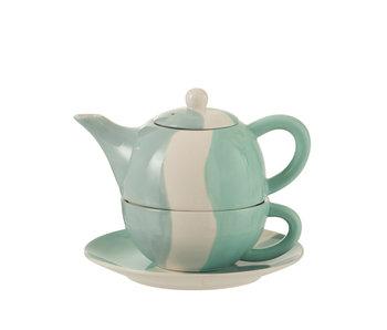 J-Line Tea For One Golf Porselein Wit/Blauw