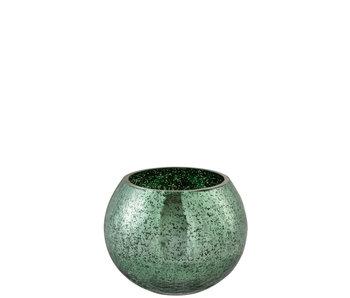 Windlicht Bol Craquele Glas Blinkend Groen Medium