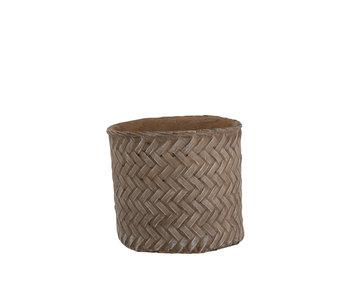 J-Line Pot de Fleurs Imitation Ciment Tissé Taupe Large