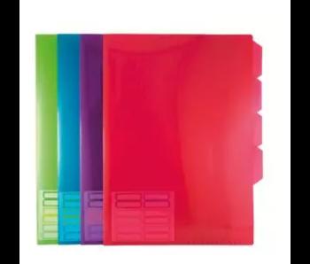 Color PP L-Tassen A4 met Tabs, 5 stuks