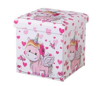 Poef/koffer eenhoorn roze kunstleer