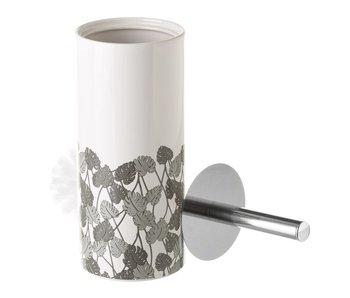 Toiletborstel leaf grey keramiek 32 cm