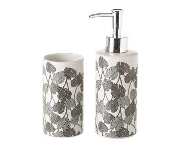 Set de salle de bain feuille en céramique grise