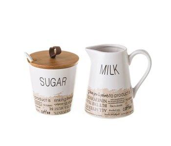 """Sucrier et pot à lait """"words"""""""