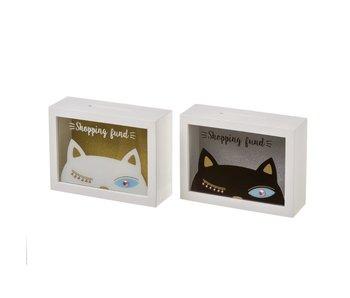 spaarbox wit - kat zwart 20x7x15(h) cm