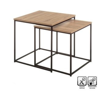 Bijzettafel S - hout /metaal - 45x45x45(h) cm