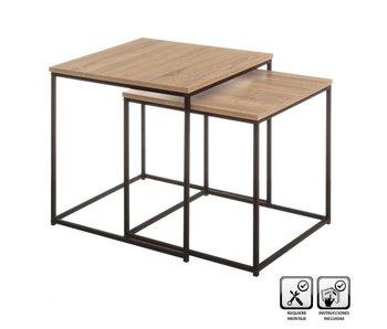 Bijzettafel L - hout /metaal - 50x50x50h