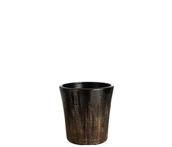J-Line Pot de Fleurs Speckle Céramique Noir/Or Large