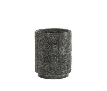 J-Line Pot de Fleurs Haut Relief Fleurs Céramique Gris Petit