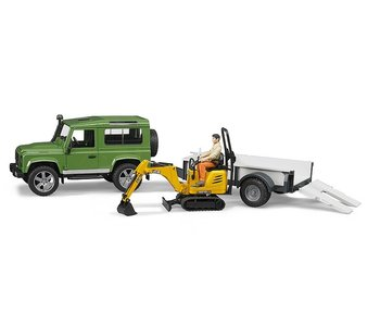 Bruder 02593 - Land Rover Defender +JCB 8010 CTS + Chauffeur