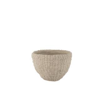 J-Line Pot de Fleurs Tissé Bas Ciment Gris