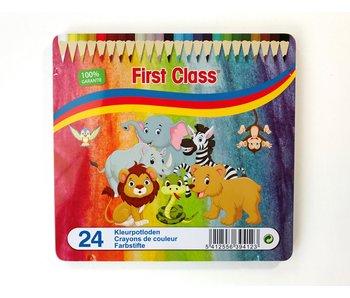 Crayons de couleur 24 pcs en boite métal - FC