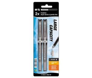 Fineliners 2 stuks zwart 0.4mm FC