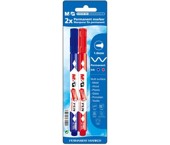 Permanent marker fijn rood + blauw 2 stuks -M&G