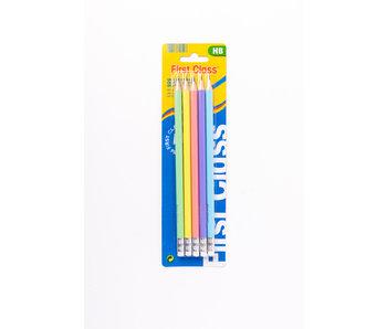 5 crayons HB avec effaceur pastel