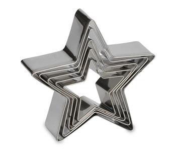 Uitduwvormpjes ster inox 5 stuks