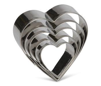 Uitduwvormpjes hart inox 5 stuks