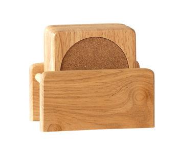 Set 6 onderzetters + houder rubberwood