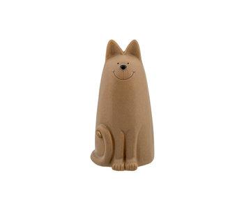 Kat zittend mat camel 11.4x10.6xH19.9 cm