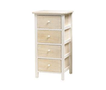 Commode bois 4 tiroirs beige-blanc 35x28.5xH69 cm
