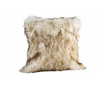 Coussin fourrure kaki blanc 45x45xH10 cm polyester