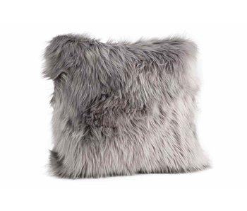 Coussin fourrure gris 45x45xH10 cm