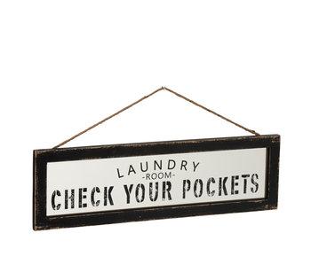 J-Line Plakkaat Laundry Hout Wit/Zwart