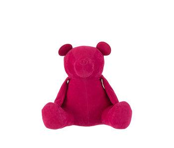 J-Line Butoir de porte ours velours mat rose moyen