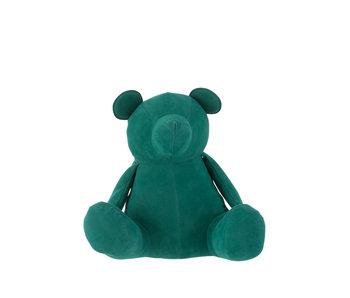 J-Line Butoir de porte ours velours mat vert moyen