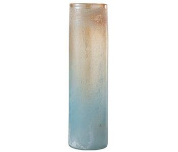Vaas Scavo Rand Cilinder Glas Oranje/Blauw