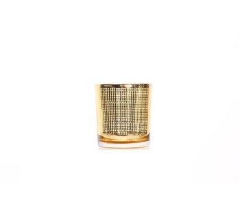 Theelichthouder goud rond glas B7.3xH8