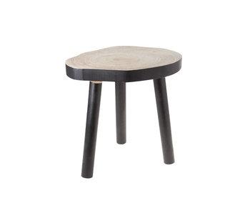 Table d'appoint bois rond noir 35,5x28xH35,5