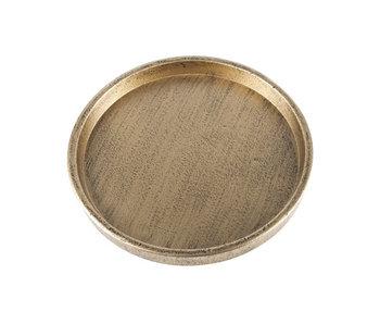 Decobord brass - geelkoper rond hout D20 cm
