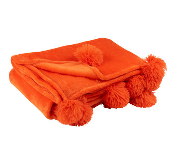 Plaid Pompom Polyester Fel Oranje