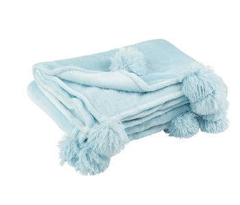 Plaid Pompom Polyester Hemelsblauw