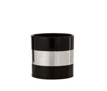 Pot de Fleurs Stripe Céramique Noir/Argent Large
