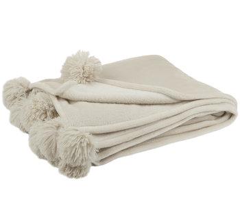 Plaid Pompom Polyester Beige/Munt