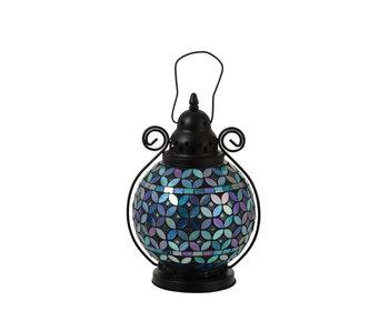 Lanterne Mosaïque Boule Verre/Métal Bleu/Violet