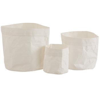 J-Line Set Van 3 Papieren Bloempotten Waterdicht Craft Papier Wit