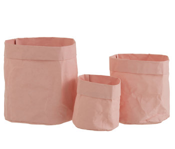 J-Line Lot de 3 pots de fleurs en papier papier kraft imperméable rose