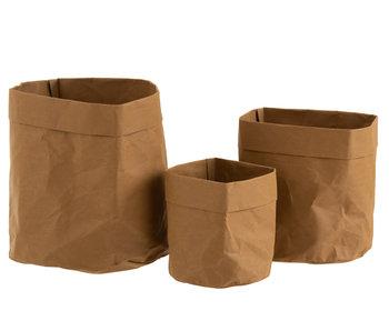 J-Line Lot De 3 Pots De Fleurs En Papier Imperméable En Papier Marron