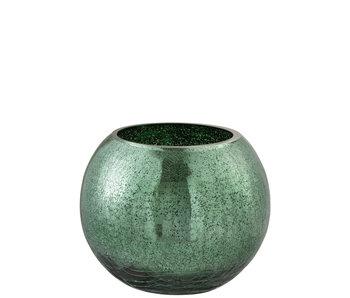 Windlicht Bol Craquele Glas Blinkend Groen Large