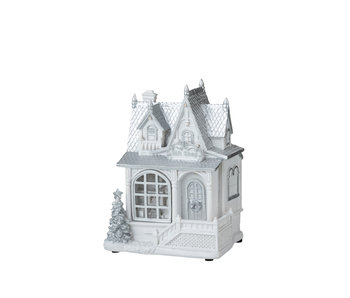 Huis Winter Led Polyresine Wit