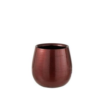 Pot de Fleurs Céramique Brillante Rouge/Or Large
